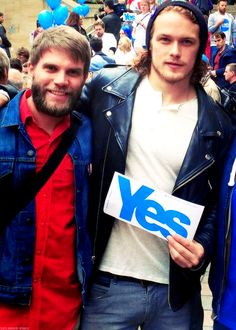 Sam Heughan at the Scottish Independence rally from Outlander-Starz tumblr