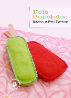 Popsicles with Free Pattern Easy Felt Popsicle Tutorial--A great beginner sewing project, sure to bust the boredom blues for you or your tween! {}Be Easy Be Easy may refer to: Craft Projects For Kids, Diy Sewing Projects, Sewing Projects For Beginners, Felt Projects, Sewing Ideas, Sewing Crafts, Craft Ideas, Felt Animal Patterns, Felt Crafts Patterns