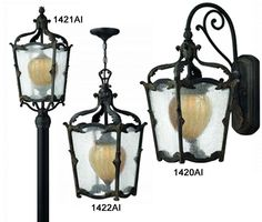 Victorian outdoor lighting with seed-style clear outer glass. Copper highlighted cast aluminum by hand. Energy saving.