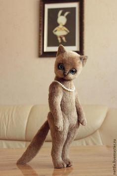 Купить МиЛеди - коричневый, светло-коричневый, кошка, кошка тедди, кошка игрушка, авторская игрушка