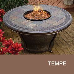 Agio Tempe - 48 Inch Round Slate Top Gas Fire Pit Table - Design Furnishings