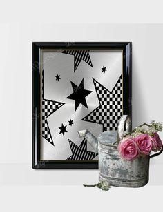 Modern Silver Star Wall Print Art Scandinavian Decor, Abstract Print by DigitalPrintStore on Etsy Modern Decor, Modern Art, Star Wall, Silver Stars, Abstract Print, Wall Art Prints, Scandinavian, Printables, Frame