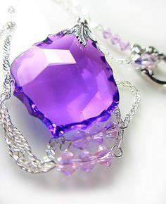 LARGE Swarovski Purple Baroque Necklace Violet by NataliaKh, $37.77