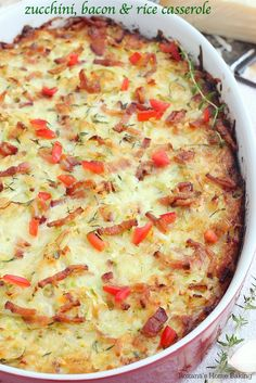 Cheesy Zucchini, Bacon, & Rice Casserole ---- One mixing bowl and one casserole dish are all that's needed to make this cheesy zucchini, bacon and rice casserole. Make it ahead of time and bake it just before dinner. Rice Casserole, Casserole Recipes, Zucchini Casserole, Cheesy Zucchini Rice, Bacon Zucchini, Great Recipes, Dinner Recipes, Favorite Recipes, Amazing Recipes