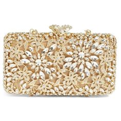 Women's Glint Crystal Floral Minaudiere (€180) found on Polyvore featuring women's fashion, bags, handbags, clutches, purses, borse, gold, cocktail purse, floral clutches and floral purse