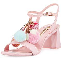Sophia Webster Juno Pompom Mid-Heel Sandal (€565) ❤ liked on Polyvore featuring shoes, sandals, pink, pink heeled sandals, ankle strap sandals, open toe sandals, heeled sandals and block heel shoes