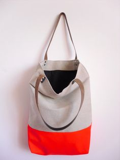 Large Tote bag, Canvas, Neon Fabric, Leather Handles. $57.00, via Etsy.