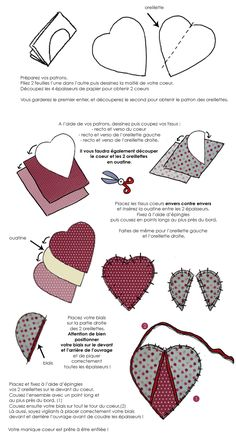 In drawing: make heart pot holders for your cooking .- In drawing: make heart pot holders for your kitchen // www. Small Sewing Projects, Sewing Projects For Beginners, Sewing Hacks, Sewing Tutorials, Potholder Patterns, Quilt Patterns, Sewing Patterns, Diy Couture, Couture Sewing