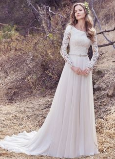 Modest long sleeve lace and chiffon gown-$$