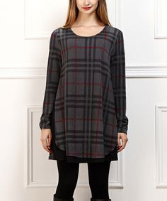 Love this Black & Red Plaid Layered Tunic on #zulily! #zulilyfinds