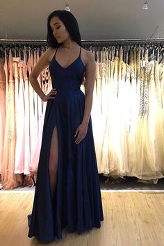 Elegant Spaghetti Straps V Neck Royal Blue Side Slit Prom Dresses Long Evening D. - - Elegant Spaghetti Straps V Neck Royal Blue Side Slit Prom Dresses Long Evening Dresses Source by Sisastoreofficial Straps Prom Dresses, Cute Prom Dresses, Prom Outfits, Ball Dresses, Cheap Dresses, Elegant Dresses, Pretty Dresses, Homecoming Dresses, Sexy Dresses