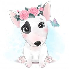 Cute Little Dogs, Cute Little Animals, Baby Animals, Cute Dogs, Illustration Blume, Cute Animal Illustration, Watercolor Illustration, Portrait Illustration, Baby Animal Drawings