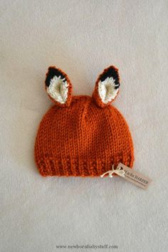 Newborn fox hat ready to ship for your little one. Handmade with soft acrylic orange, black and cream with some gold sparkle yarn. Knitting For Kids, Crochet For Kids, Knitting Projects, Crochet Projects, Crochet Baby Hats, Knitted Hats, Knit Crochet, Poncho Knitting Patterns, Knit Patterns