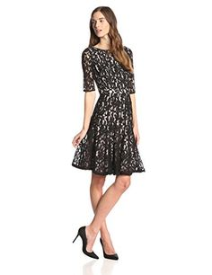 Adrianna Papell Lace Fractured Fit and Flare Dress in Black/Blush - http://www.womansindex.com/adrianna-papell-lace-fractured-fit-and-flare-dress-in-blackblush/