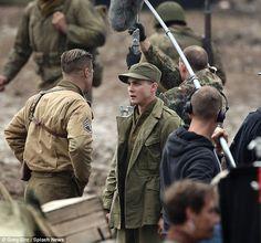 Logan Lerman filming Fury also has Brad Pitt and Shiloh Labeauff. Logan Lerman, Point Break Remake, Brad Pitt Fury Haircut, Angelina Jolie Wedding, Fury 2014, Brad Pitt Movies, War Film, Hot Actors, Film Stills