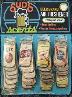 """Vintage 1960s In-Car 'Beer Brand"""" Air-Fresheners"""