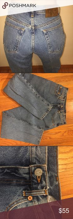 Calvin Klein High rise Jeans. Vintage 80s/90s Tag states size six. Tag says stone washed. Fit more like a size 4. In very good condition except the button is a little loose on the front. Pants are pretty stiff from being dry cleaned. 29 inch inseam. 13 inch waist.  Rise is 11 inches. Tags: mom jeans, high rise , Calvin , my calvins. Vintage Calvin Klein Jeans Jeans Straight Leg