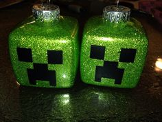 Creeper ornaments made with square plastic ornaments from michaels