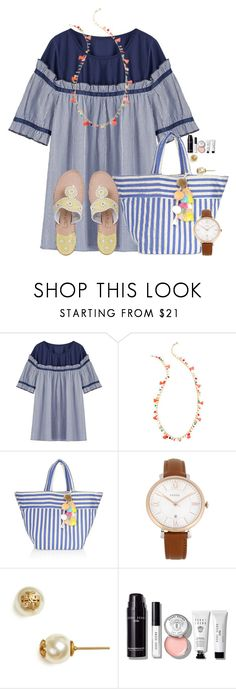 """""""~navy is my neutral~"""" by flroasburn ❤ liked on Polyvore featuring Lilly Pulitzer, JADEtribe, FOSSIL, Tory Burch, Bobbi Brown Cosmetics and Jack Rogers"""