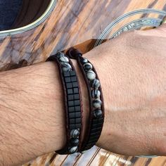 Men's Unisex Double Wrap Beaded Bracelet, Black Miyuki Beads, Black Silk Stone, Binghamite, Onyx Marble, Silver Tree Of Life Clasp, #58 by CupidsMoonJewelry on Etsy