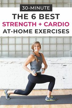 body Strength train at home with these 6 STRENGTH + CARDIO EXERCISES USING 1 DUMBBELL! You'll get a full body workout done in 30 minutes using this engaging circuit workout -- and all you need is a single dumbbell! Amrap Workout, Full Body Dumbbell Workout, Dumbbell Exercises, Workout Body, Tabata, Full Body Strength Workout, Circuit Workouts, Barre Workout, Boxing Workout