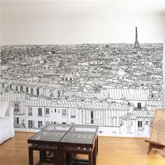 Oh My Wall Invalides-Tour Eiffel Wallpaper, Panoramic