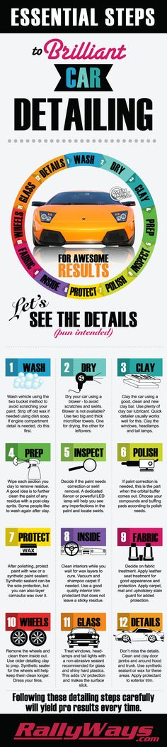 The Complete Professional Car Detailing Step by Step Process Infographic.  This infographic describes the essential steps to a successful DIY pro-level car detailing project.  There is more to correctly detailing your car than you may think. Click through to read the full article. #rallyways
