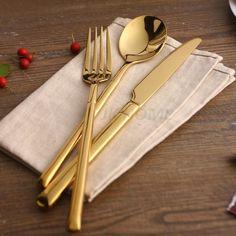 JANKNG 24 K Ouro Polimento de Talheres 4 Pcs Talheres de Aço Inoxidável Talheres Colher de Jantar Louça Banhado Conjunto de Talheres Para 1/6 em Conjuntos de Jantar de Home & Garden no AliExpress.com | Alibaba Group