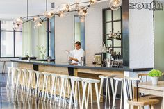 Andaz Savannah's 22 Square Restaurant & Bar featuring BassamFellows Tractor Stools in ash.