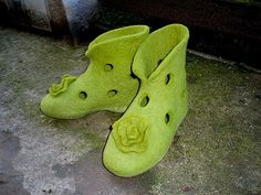 Felted green slippers