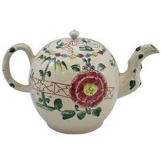 English Staffordshire White Saltglazed Stoneware Enameled Teapot, Chinese Fence motif, 1750, vivid!