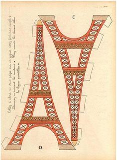 printable vintage Eiffel Tower DIY home decor La Tour image 1 Eiffel Tower Craft, Eiffel Towers, Tour Effel, Valentine Day Crafts, Valentines, Parisian Party, Thinking Day, Paris Theme, Paris Decor