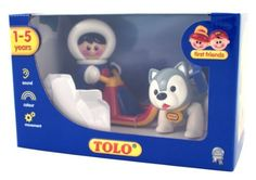 Tolo First Friends Sledge Set by Tolo. $34.95. Encourages imaginative play. Discreet wheels allow the sledge to be pulled or pushed, and it can hold two first friends characters. Sledge Set comes with Eskimo boy and a husky. Add to the Polar Iceberg set to expand your polar range world. Eskimo boy has recessed hands so they clip securely to the handle bars. From the Manufacturer                This Fun Sledge Set comes with its very own Eskimo boy and a husky. Discreet wheels...