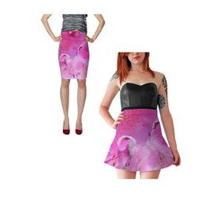 Pink Skirt Fitted Pencil Skirt Skater Skirt Flare by WhimZingers