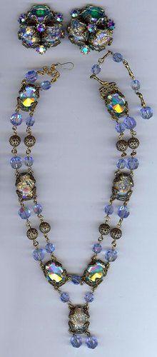 HOLLYCRAFT VINTAGE SEA GREEN & OPAL FOIL ART GLASS CRYSTAL NECKLACE & EARRINGS | eBay