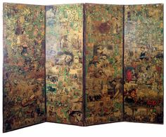 "19th c. Victorian ""Scrap"" Screen. Decoupaged papers on hardwood."