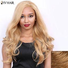 Side Parting Real Natural Siv Hair Long Wavy Wig