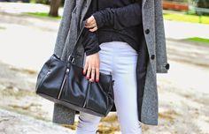 black bag, white and grey http://pearlsandrosesdiary.blogspot.gr/2015/02/winter-charm.html