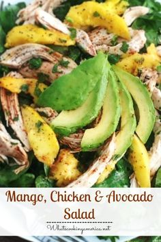 Mango, Chicken & Avocado Salad Recipe  |  whatscookingamerica.net  | #mango #chicken #avocado #salad