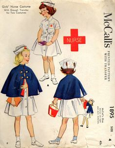 vintage 1954 girls NURSE COSTUME mccalls sewing by LittleTicket, $15.00