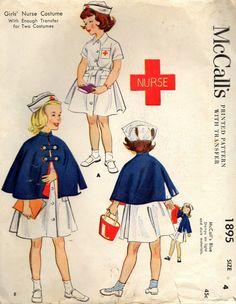 vintage 1954 girls NURSE COSTUME mccalls sewing by LittleTicket, $15.00