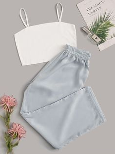 Shop Cami Top With Satin Pants PJ Set at ROMWE, discover more fashion styles online. Cute Lazy Outfits, Teenage Outfits, Outfits For Teens, Stylish Outfits, Girls Fashion Clothes, Teen Fashion Outfits, Retro Outfits, Girl Fashion, Tween Fashion