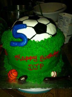 Sports theme cake by Cari's Sweet Thangs.