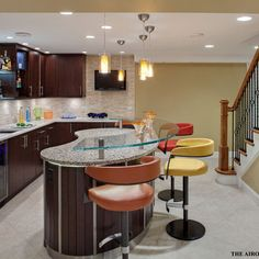 Kidney Shaped Island Design Ideas Pictures Remodel And Decor Contemporary Bar