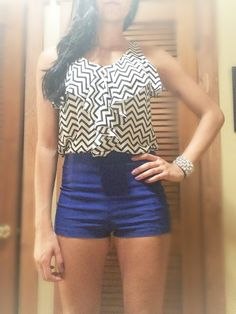 Blue High Waist Shorts and chevron top