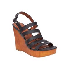 Women's Lucky Brand Larinaa Platform Wedge Sandal ($39) ❤ liked on Polyvore featuring shoes, sandals, black, casual, heels, black heeled sandals, black strap sandals, wedge sandals, black sandals and black platform sandals