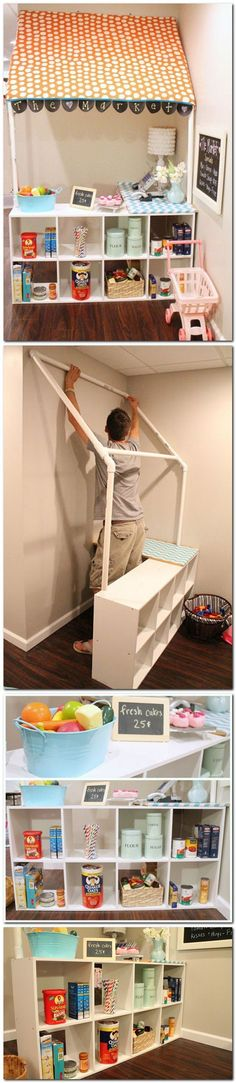 DIY Childrens grocery store - would be cute for a reading corner or play kitchen Kids playroom ideas Toy Rooms, Kid Spaces, Daycare Spaces, Play Spaces, Learning Spaces, Play Houses, Dog Houses, Diy For Kids, Kids Bedroom