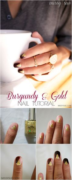 Burgundy and Gold Nail Tutorial | MissySue.com