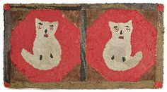 Hooked rug of two cats, early 20th c., on red o : Lot 278