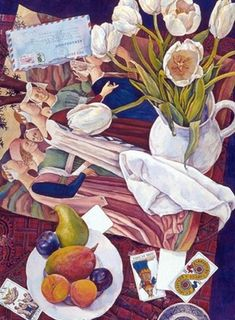Tulips and Piero, 30 x 22, watercolor - Susan Abbott. Abbott is superb. I love all her work.